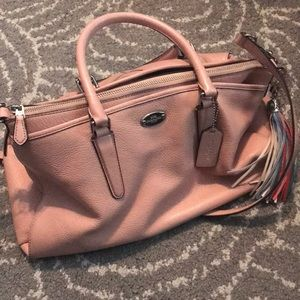 Large Baby Pink Coach Bag w/Tassel